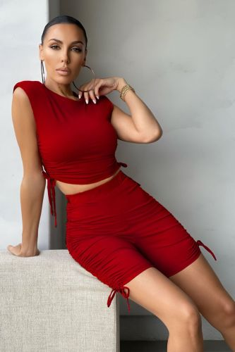 Red Pure color pleated sports shorts suit casual two-piece suit
