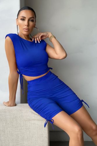 Dark bule Pure color pleated sports shorts suit casual two-piece suit