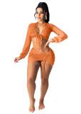 Gray Beach sun protection shirt Ladies air-conditioning shirt Net yarn suit