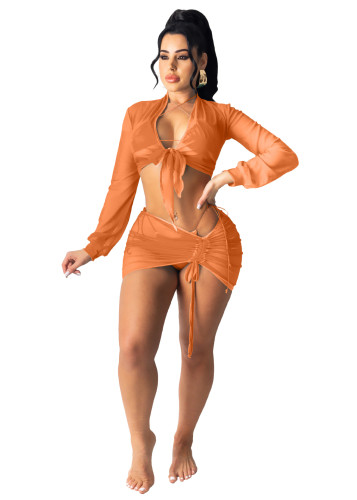 Ogange Beach sun protection shirt Ladies air-conditioning shirt Net yarn suit