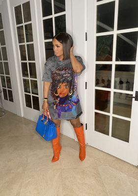 Fashion positioning digital printing loose casual plus size dress printing bag hip skirt