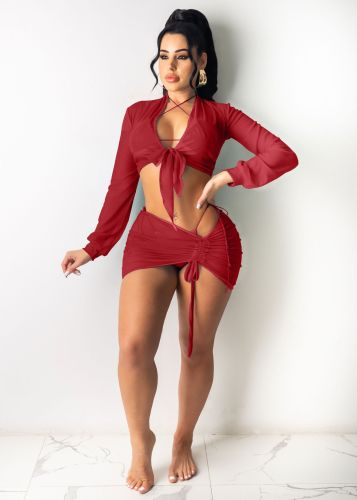 Red Beach sun protection shirt Ladies air-conditioning shirt Net yarn suit