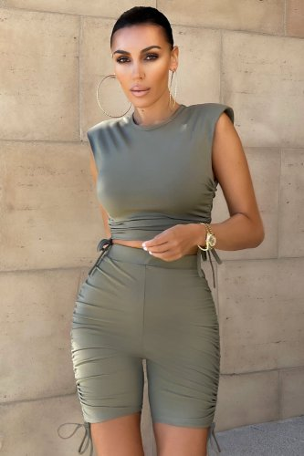 Gray Pure color pleated sports shorts suit casual two-piece suit