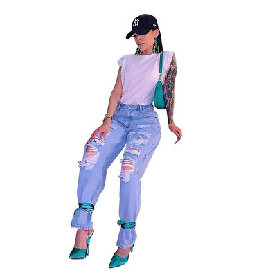 Light blue Women's Fashion Casual Washed Hole Personalized Straight Jeans
