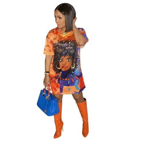 Orange Fashion positioning digital printing loose casual plus size dress printing bag hip skirt