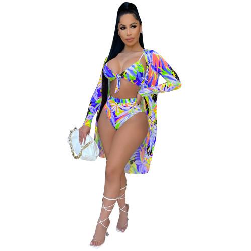Bule Fashion sexy printed cloak + bikini three-piece swimsuit