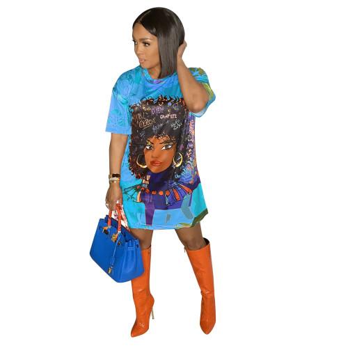 Light bule Fashion positioning digital printing loose casual plus size dress printing bag hip skirt