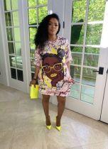 Positioning digital printing loose casual plus size dress printing bag hip skirt