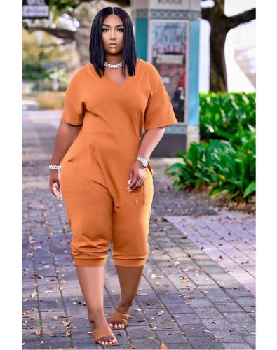 Orange Women's loose solid color V-neck casual cropped jumpsuit