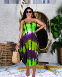 Green Summer new irregular sling print casual loose long skirt