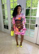 Pink Positioning digital printing loose casual plus size dress printing bag hip skirt