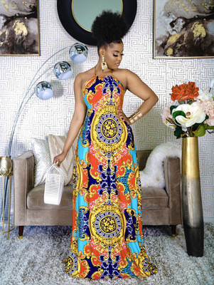 Fashionable women's digital printing sexy halter neck big swing dress women dress