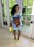 Bule Positioning digital printing loose casual plus size dress printing bag hip skirt