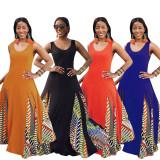 Bule Fashionable solid color stitching geometric print big casual dress