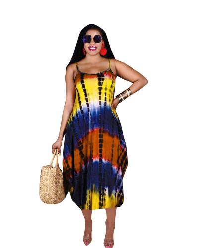 Yellow Summer new irregular sling print casual loose long skirt