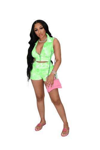 Green Printed tie-dye cardigan sexy nightclub wear casual sports suit