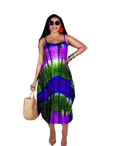 Bule Summer new irregular sling print casual loose long skirt