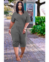 Gray Women's loose solid color V-neck casual cropped jumpsuit