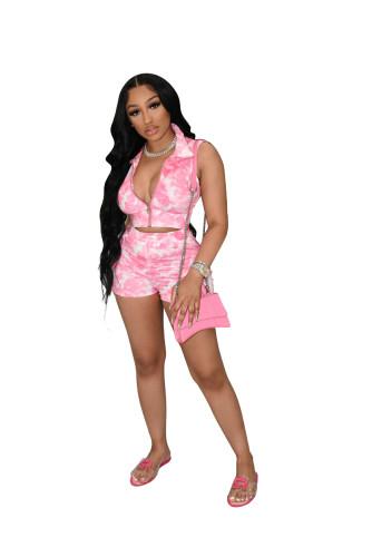 Pink Printed tie-dye cardigan sexy nightclub wear casual sports suit