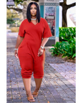 Red Women's loose solid color V-neck casual cropped jumpsuit
