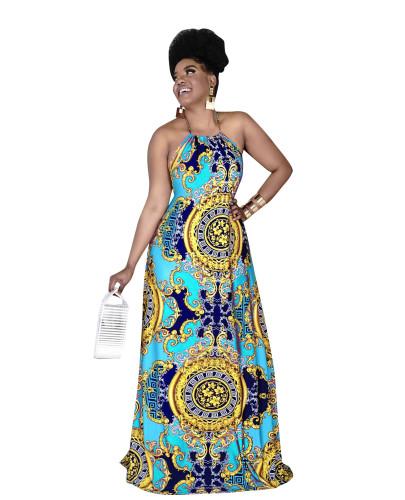 Light bule Fashionable women's digital printing sexy halter neck big swing dress women dress