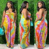 Bule Summer new style sling tie-dye printing casual loose long skirt