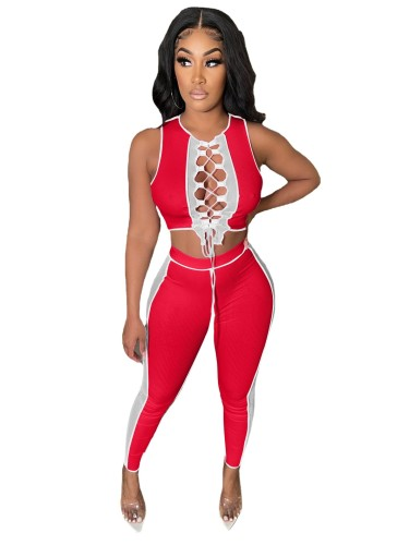 Red Contrasting color pit strip stitching mesh bandage hollow casual suit