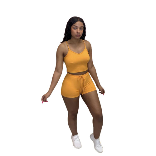 Yellow Fashion casual solid color pit strip camisole top shorts two-piece women's clothing