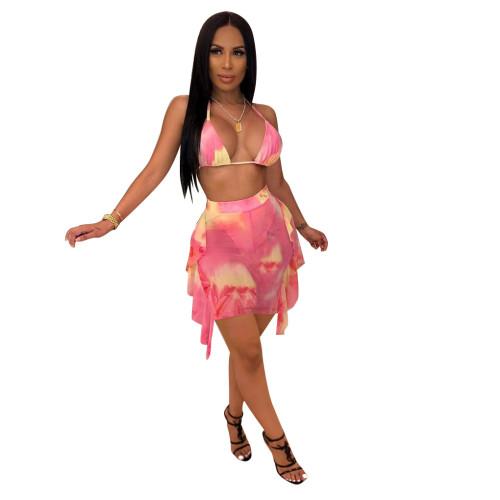 Pink Tie Dye Print Sexy Mesh Bikini Dress