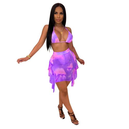 Purple Tie Dye Print Sexy Mesh Bikini Dress