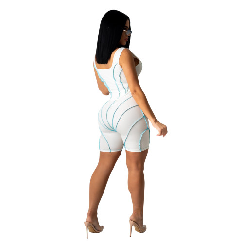 Women's fashion splicing sling sports and leisure suit
