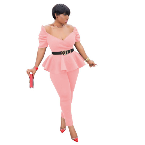 Pink Fashion ruffled air layer business wear uniform casual suit