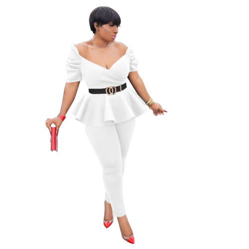 White Fashion ruffled air layer business wear uniform casual suit