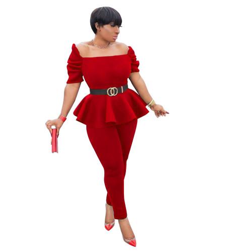Red Fashion ruffled air layer one word collar professional uniform casual wear