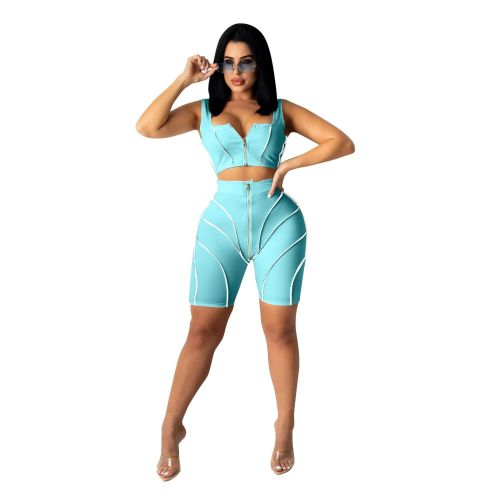 Light bule Women's fashion splicing sling sports and leisure suit