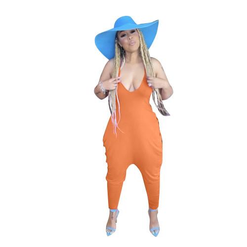 Orange Women's loose solid color suspenders casual baggy pants jumpsuit
