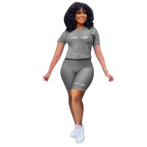 Gray Fashionable women's bubble jacquard pineapple cloth embroidery yoga sports and leisure suit