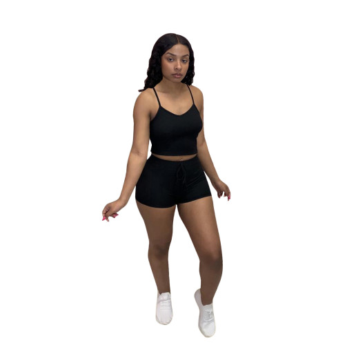 Black Fashion casual solid color pit strip camisole top shorts two-piece women's clothing