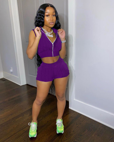 Purple Fashion bubble jacquard solid color pineapple cloth sports yoga suit