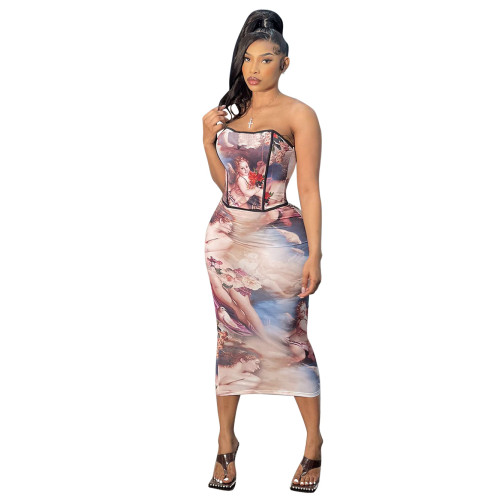 Women's Sexy Wrapped Chest Strapless Neck Shaped Printed Skirt Two-piece Set