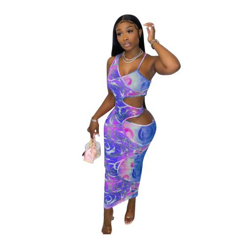 Purple Fake two-piece hollow one-shoulder strap slim-fit digital printing dress