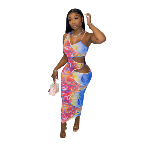 Fake two-piece hollow one-shoulder strap slim-fit digital printing dress