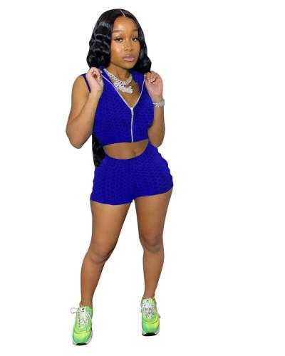 Bule Fashion bubble jacquard solid color pineapple cloth sports yoga suit