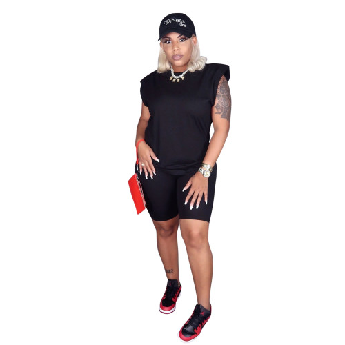 Black Urban Leisure Sleeveless Shoulder Pad T-shirt Set Pure Color Leisure Two-piece Set