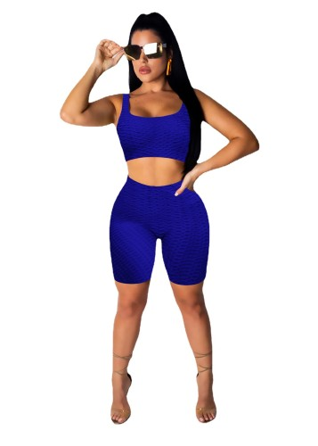 Bule Fashion bubble jacquard pineapple cloth yoga sports and leisure suit