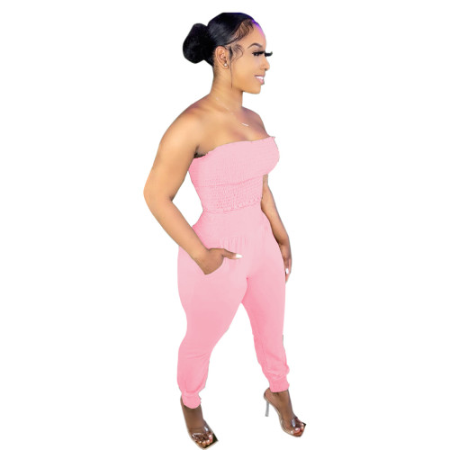 Pink Women's solid color craft tube top casual suit
