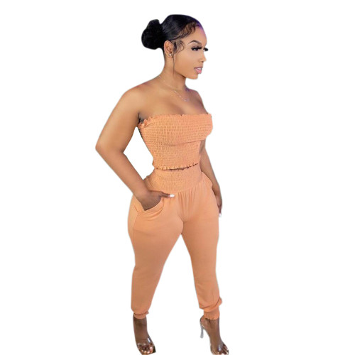 Orange Women's solid color craft tube top casual suit