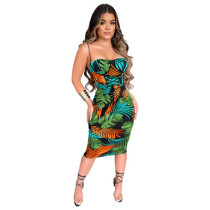Women's casual printed high waist strappy sexy suspender skirt