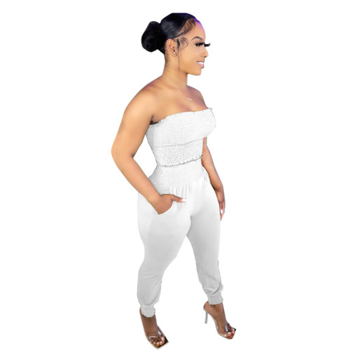 White Women's solid color craft tube top casual suit