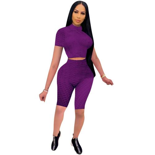 Purple Fashion bubble jacquard pineapple cloth suit